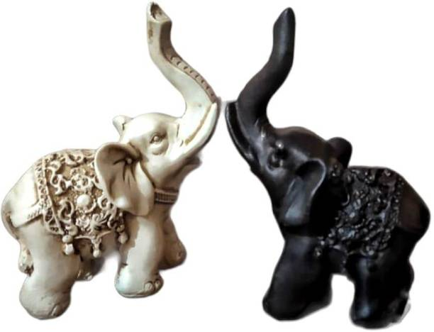 Saanwara Creations Vastu Remedy Resin Handicraft Elephant Pair Carving Statue in Black and White Color for Home and Office Decor (Height 5 inch) Decorative Showpiece  -  12.7 cm