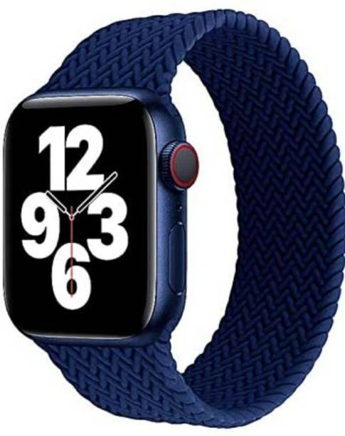 MobilePlanet SOFT BRAIDED SOLO LOOP STRAP ;SOFT STRECHABLE REPLACEMENT BAND STRAP FOR IWATCH SERIES SE,6,5,4,3,2,1,(42MM/44MM WATCH NOT INCLUDED-BLUE Smart Watch Strap