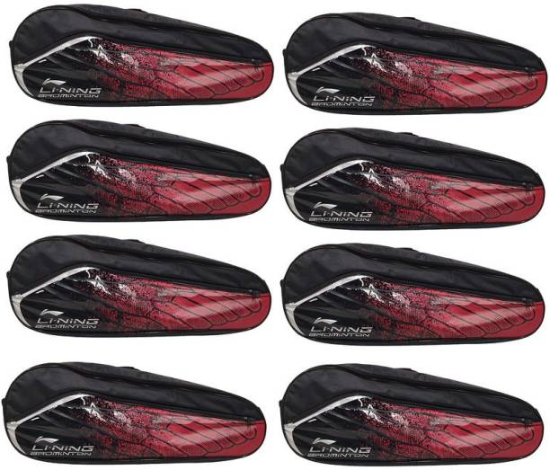 LI-NING Badminton Racquet ABSM181 Kit Bag, Pack of 8, Red & Black