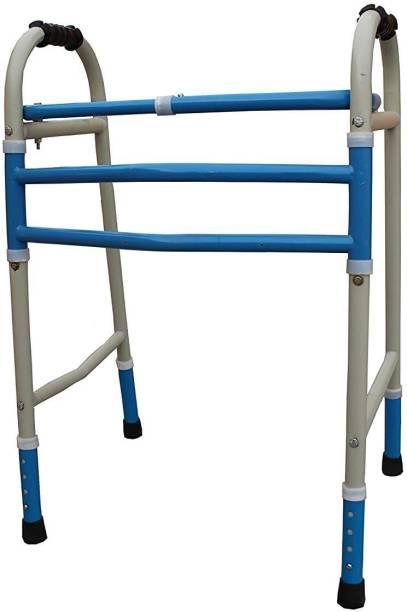 KDS SURGICAL Height Adjustable Foldable Old People Blue And Beige Walking Walker - Unisex Walking Stick