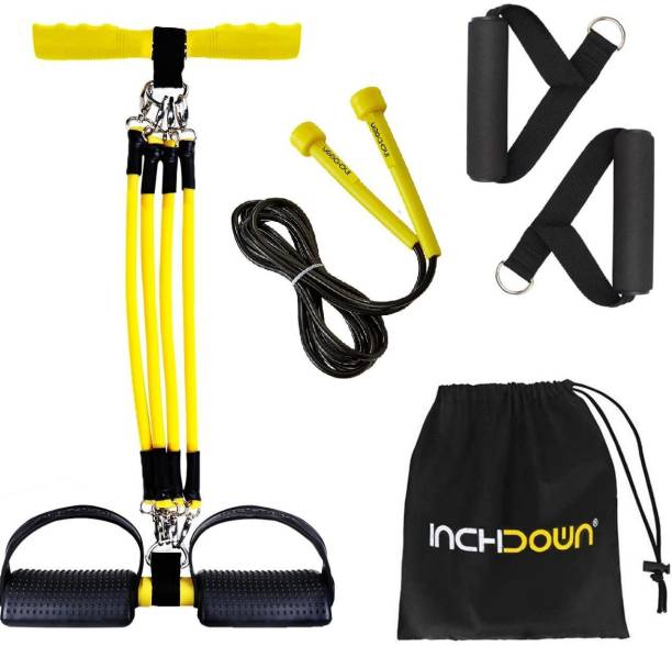 Inchdown Detachable Tummy Trimmer, 4 in 1 Multifunction Pedal Resistance Band Set Ab Exerciser