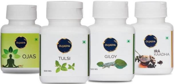 Oujasya Immunity Booster Pack   Two Month Pack   6 Bottles   Tulsi 500mg X 1   Giloy 500mg X 1   Ojas X 1  Ira Kaadha - Instant Ayurvedic Kaadha Powder X 3
