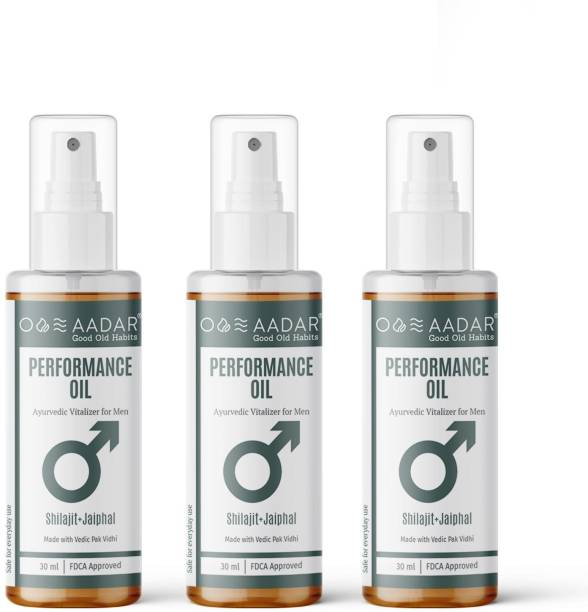 AADAR PerforMANce Oil | Ayurvedic Power Oil for Men | Improves Stamina and Vitality | Shilajit, Black Seed, Jaiphal and Ashwagandha | 30 ml (Pack of 3)