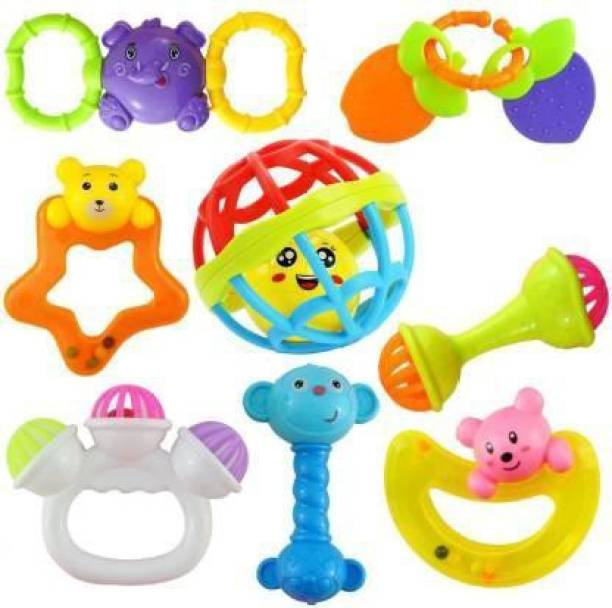 Wilson Enterprise Set of 8 Pcs with Various Exciting Toys for New Born's & Infants Rattle Rattle