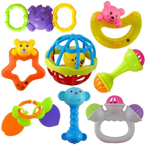 """ZAMZAM """"Colourful Plastic Non Toxic Set of 8 Teether and Rattle for New Borns and Infants """" Rattle"""