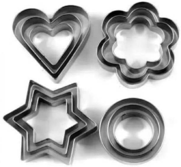 RSPOL 12 Piece Stainless Steel Set with 4 Shapes-3 Stars Shape ,3 Flowers Shape, 3 Round Shape, 3 Heart Shape Baking Cutter Tools Cookie Cutter