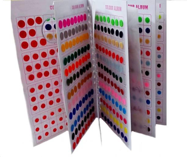 Vama Fashions Simple Plain Round Daily Use Multicolour Forehead Sticker kumkum Bridal bindi book for ladies Women & Girls ( bindi booklet - Total 948 bindis ) Bridal, Wedding, Forehead Multicolor Bindis
