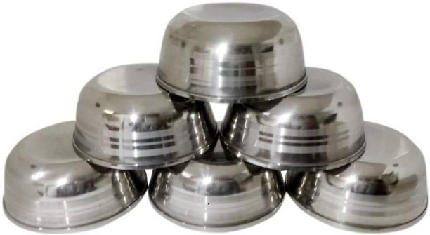INDOROX 6 Pcs Medium Size Stainless Steel Veg Bowl Vati Katori Serving Dish Stainless Steel Serving Bowl