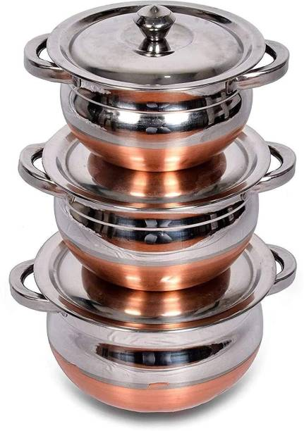 Nirvika Pack of 3 Stainless Steel Steel Handi Set 3 PCS (3 Piece) Kitchen Serving,Cooking Bowl Cookware Set Stainless Steel with Copper BottomCook and Serve Essential Handi with Lid - Set of 3 Pcs Cookware Set (3 Piece Copper) Capacities of 750 ML,1000 ML,1500 ML Dinner Set