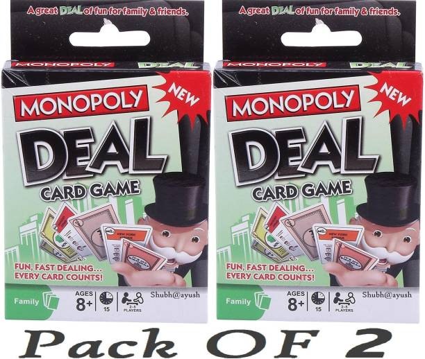 SHUBH@AYUSH Monopoly Deal card Games Fast Fun FAMILY CARD GAME COMPLETE PACK OF 2
