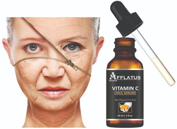 Afflatus Vitamin C Serum Skin Brightening , Anti AGING Skin Repair , Dark Circle , fine Line & Sun Damage Corrector , Age - Defring , Ageless Serum , Natural Glowing Beauty , hyaluronic acid for glowing youthfull improved shine , Alovera Extract , White Beauty Anti Spot Fairness , Booster Serum