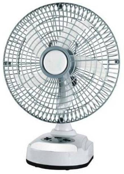"""Zeom ®AK-8010-10"""" 0 mm Akari Rechargeable Ac/Dc Table Fan With Emergency Led Light, Solar Charging Facility (White & Black, To Be Assembled As Per Manual) 400 mm 5 Blade Table Fan"""