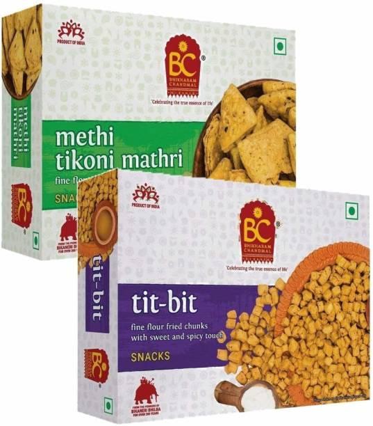 BHIKHARAM CHANDMAL Methi Tikhoni Mathri 425gm & Tit Bit 425gm