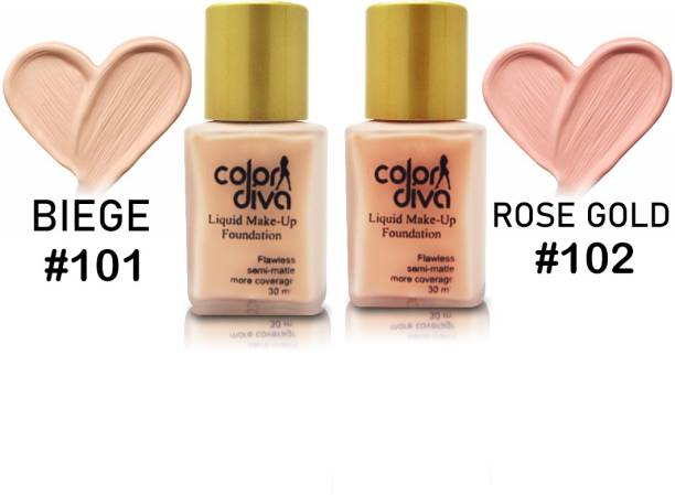 Color Diva Liquid Makeup Foundation Flawless Semi-Matte, Shade-101, Shade-102 Foundation, Each 30ml Foundation