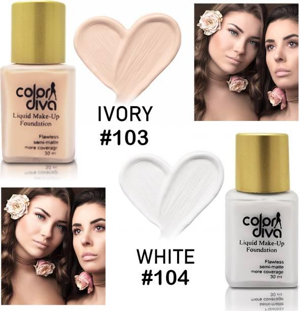Color Diva Liquid Makeup Foundation Flawless Semi-Matte, Shade-103, Shade-104 Foundation, Each 30ml Foundation
