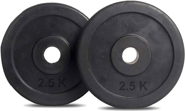 Ardino Pair Of 2.5Kg x2Pcs Good Quality Rubber Plates For Home/Commercial Gym Black Weight Plate
