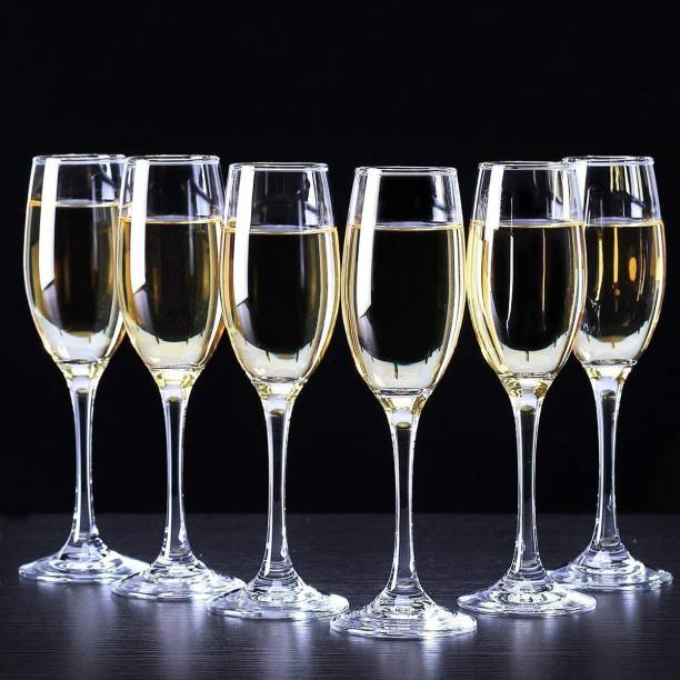 JIGSHTIAL (Pack of 6) (Pack of 6) Wine Glass, Red or White Wine, Champagne Flutes, Glass Glass Set (170 ML) Glass Set