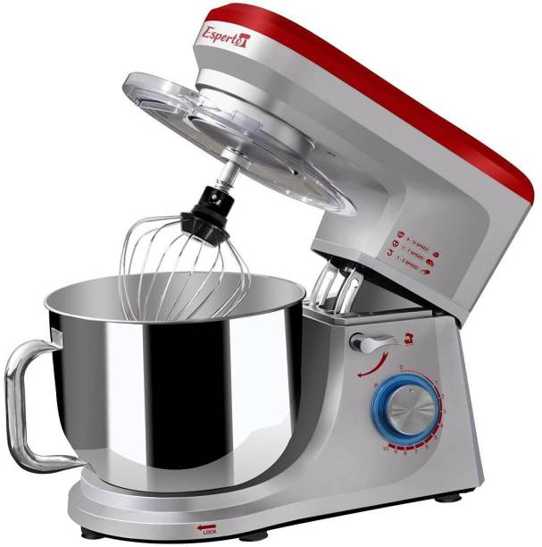 Inalsa Professional Stand Mixer Esperto -1400W |100% Pure Copper Motor|6L SS Bowl with Handle + Splash Guard |10 Speed + Pulse Function |Metal Gears |Includes Beater, Dough Hook & Whisk 1400 W Stand Mixer