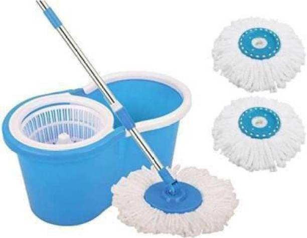 Neemco Spin Bucket Mop with 2 Refills- Super Absorbent Refills for All Type of Floors, 360 Degree Spin Bucket, 180 Degree Bendable Handle, for Perfect Cleaning (Color May Vary) Mop, Mop Refill