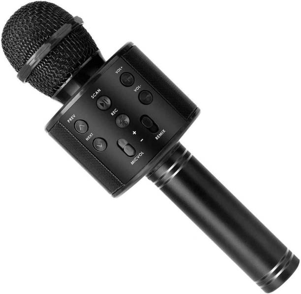 bhawnah Quality Wireless Bluetooth WS-858 Microphone MIC Recording Condenser Handheld Microphone Stand with Speaker for Cellphone Karaoke Best for Holiday Festival Journey(Black) MIKE