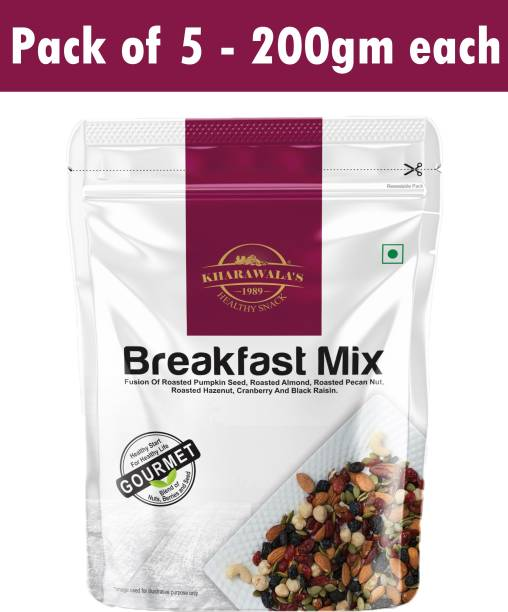 KHARAWALA'S Breakfast Mix Healthy Start for Healthy Life Pack of 5 (200gms each) Assorted Nuts