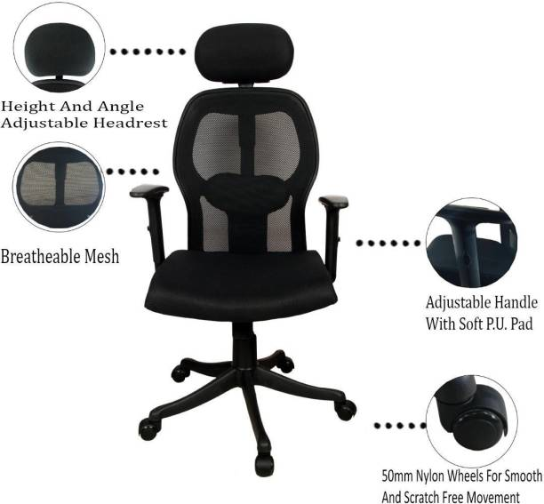 Rajpura Oscar High Back Revolving Chair with Headrest and Centre Tilt Any Position/ Any angle Lock Mechanism in Black Fabric and mesh/net back With Nylon Base (Adjustable Arms) Fabric Office Executive Chair (Black) Fabric Office Executive Chair