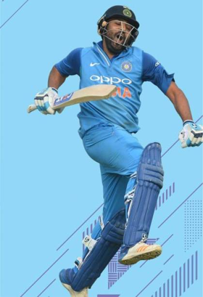 Rohit Sharma Wall Poster For Home And office Décor Print on 300gsm Thickness Paper With Gloss Lamination (Size 13 Inch X 19 Inch, Rolled) Multicolor Paper Print