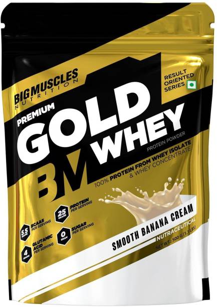 BIGMUSCLES NUTRITION Premium Gold Whey   25g Protein Per Serving, 0g Sugar,5.5g BCAA Whey Protein