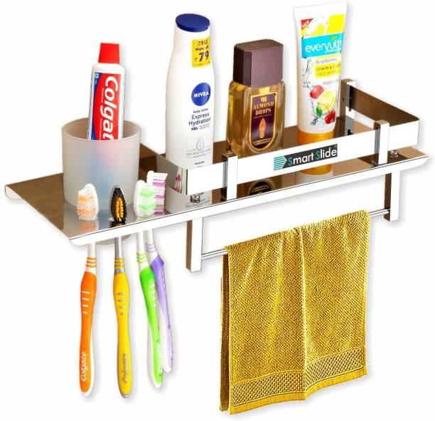 SMART SLIDE Stainless Steel 3 in 1 Multipurpose Bathroom Wall Shelf - Toothpaste - Toothbrush Holder – Tumbler Holder – Kitchen Rack - Kitchen Organizer – Bathroom organizer with Toothbrush and Towel Holder Stainless Steel Wall Shelf
