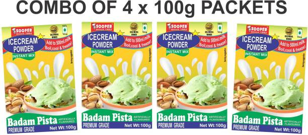 SOOPER ICE CREAM MIX POWDER BADAM PISTA 100g X 4 PACKS 400 g