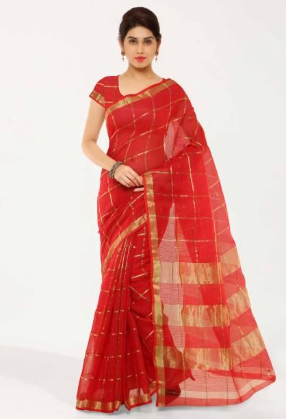 kvsfab Woven, Self Design, Striped Banarasi Cotton Blend Saree