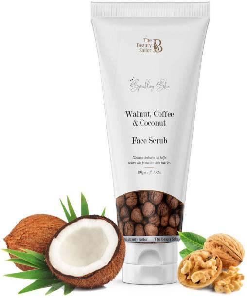 The Beauty Sailor Walnut, Coffee & Coconut Face Scrub For Dead Skin & Blackheads, Dark Spot Removal, Whitens By Removing Tan Scrub