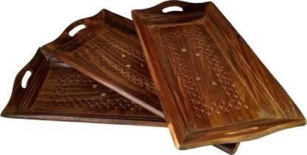 Heena Engineers Heena Engineers Wooden Tray, Handmade tray set of 3 Tray Serving Set (Pack of 3) Tray Serving Set