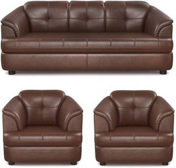 The Unique Arts Leather 3 + 1 + 1 Brown Sofa Set