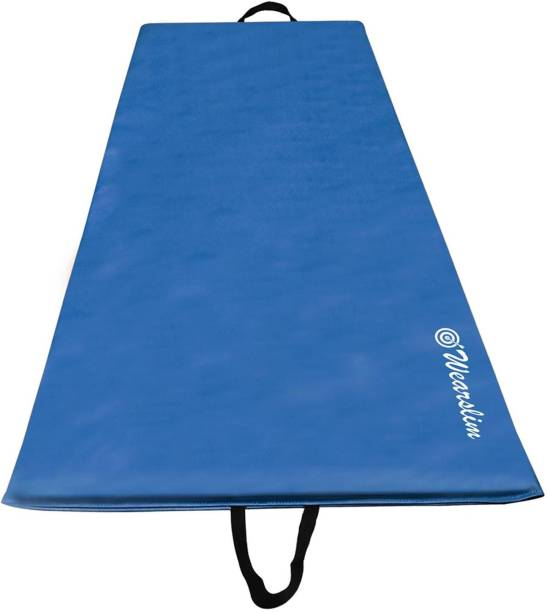 Wearslim PU Leather Yoga Mat, Extra Thick Yoga Mat and Exercise Mat with Carrying Strap Blue 10 mm Yoga Mat