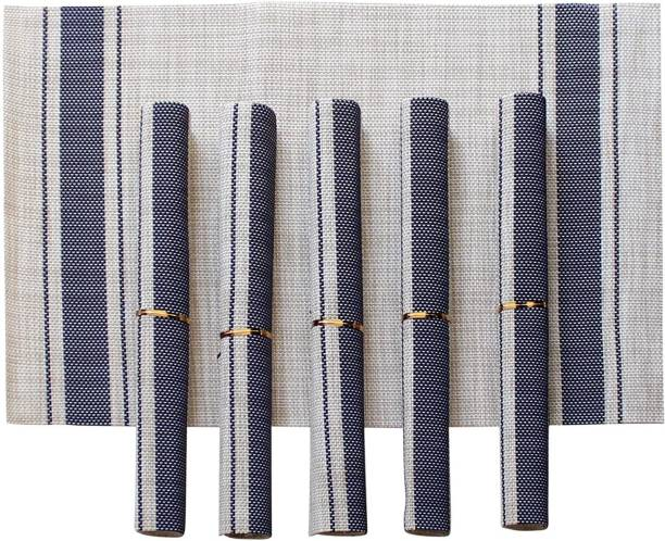 TIED RIBBONS Grey, Blue PVC Table Linen Set