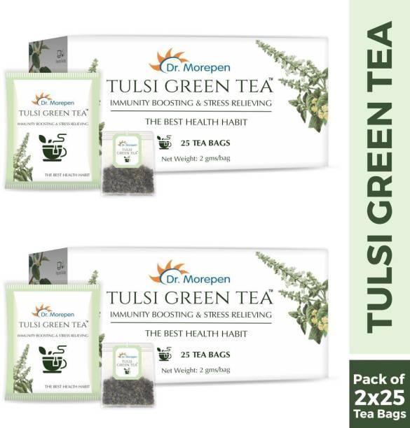 Dr. Morepen Tulsi Green Tea, Stress Relieving & Immunity Boosting Tea Pack of 2 - 25 Tea Bags Each Tulsi Green Tea Bags Box