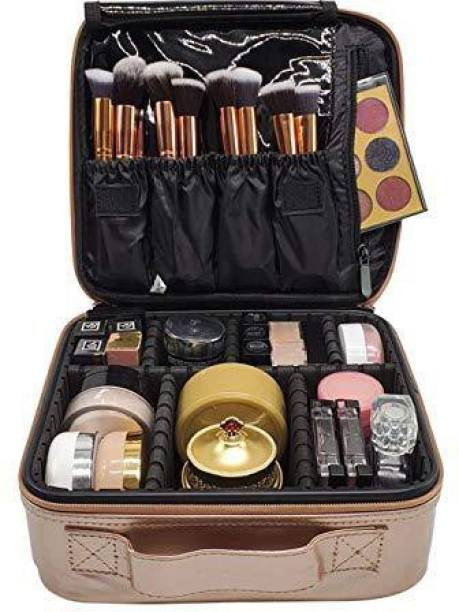 HOUSE OF QUIRK Makeup Cosmetic Storage Case with Adjustable Compartment (Rose Gold) Makeup Vanity Box