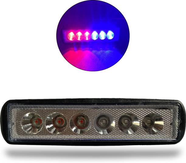 Autofledge 6 LED Blue Red Police Head light Strobe LED Light Flasher for Car/Bike/Cycle/Tractor VLBPL3 Headlight, Indicator Light, License Plate Light, Tail Light Car, Motorbike, Truck, Van LED (12 V, 10 W)