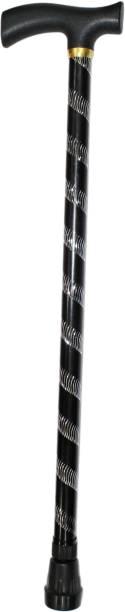 Dr. Head ABS Handle Premium Aluminum Imported Walking Stick L Type Universal Size Old Age (Men & Women) Black Walking Stick