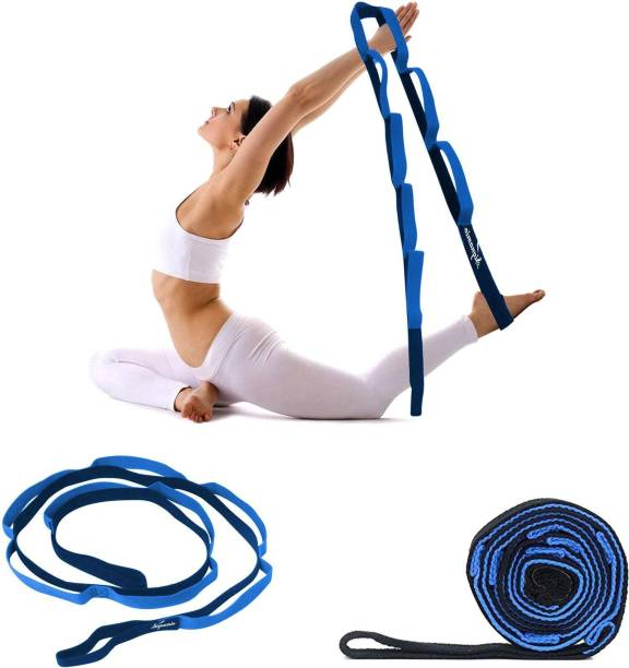 Signamio Strap/Stretch Bands 10 Loops Best for Daily Stretching,Fitness,Exercise, Gym Nylon Yoga Strap