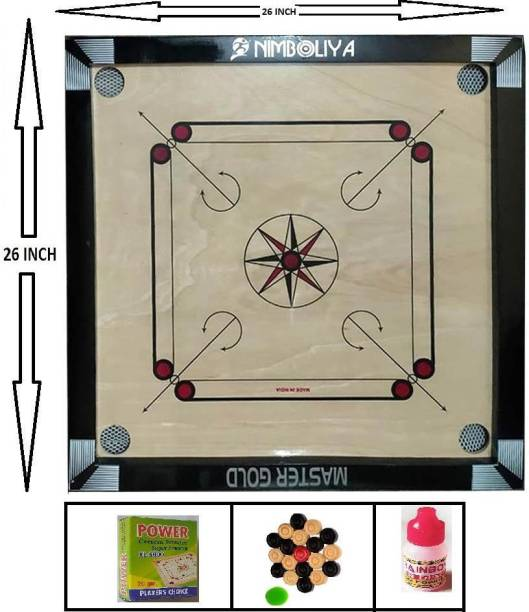 NIMBOLIYA MASTER GOLD Gloss Finish Carrom Board with Coins, Striker & Powder 66 cm Carrom Board