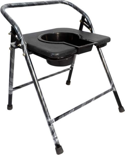 HIGHWAY ENTERPRISES Disabled Men and Pregnant Women Stainless Steel Shower and Bathing Room Mobile Commode Chair with Toilet Seat Comfortable Safe chair (Black) Commode Shower Chair