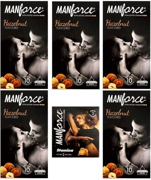 MANFORCE Combo Pack of Hazelnut Condom 10pc Set of 5 and Orange condom 3pc Set of 1 Condom