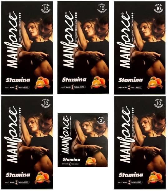 MANFORCE Combo Pack of Orange Condom 10pc Set of 5 and Orange condom 3pc Set of 1 Condom