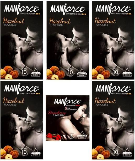 MANFORCE Combo Pack of Hazelnut Condom 10pc Set of 5 and Strawberry condom 3pc Set of 1 Condom