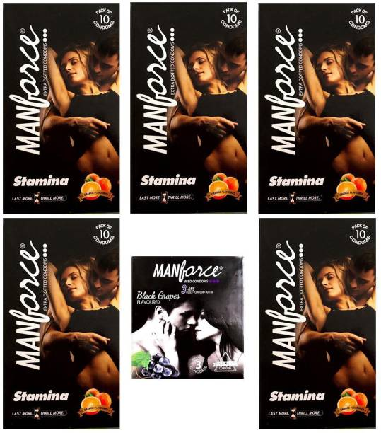 MANFORCE Combo Pack of Orange Condom 10pc Set of 5 and Blakcgrapes condom 3pc Set of 1 Condom