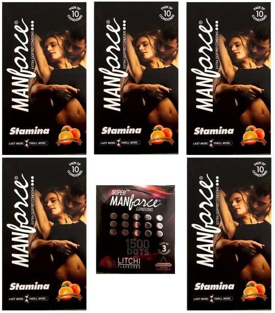MANFORCE Combo Pack of Orange Condom 10pc Set of 5 and Litchi condom 3pc Set of 1 Condom