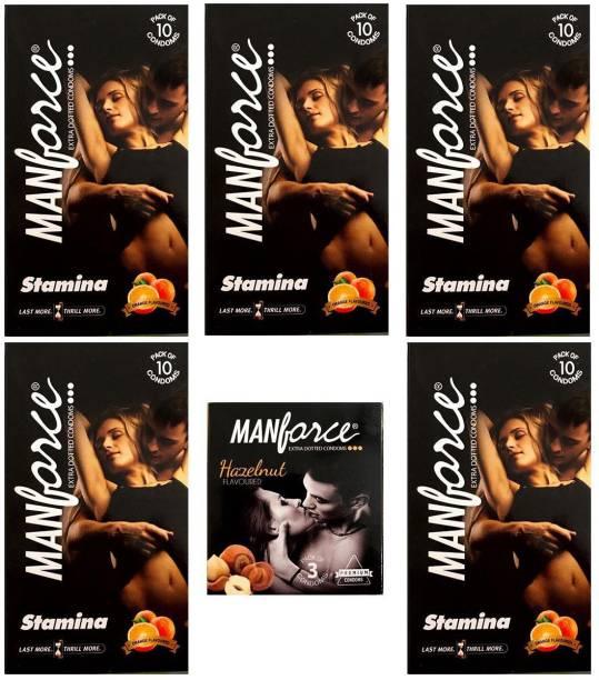 MANFORCE Combo Pack of Orange Condom 10pc Set of 5 and Hazelnut condom 3pc Set of 1 Condom