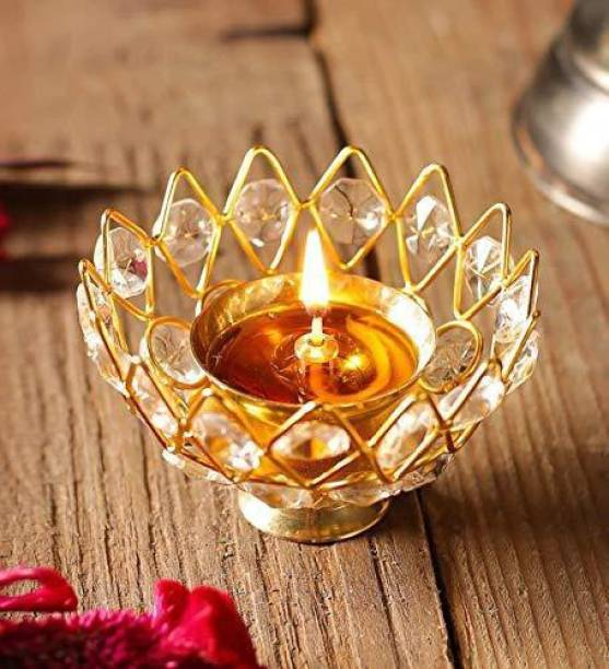 decorate india Small Brass Akhand diya Diamond Crystal Deepak Brass Table Diya